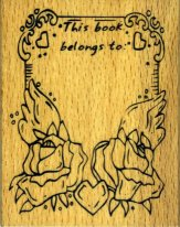 Hearts & Flowers Bookplate rubber stamp