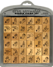 Sign Language Deaf Rubber Stamp Alphabet Set